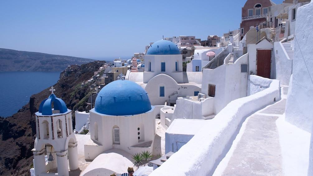 White Greek buildings in Santorini