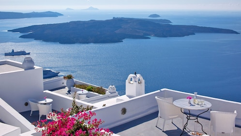 Scenic view of the ocean from Santorini