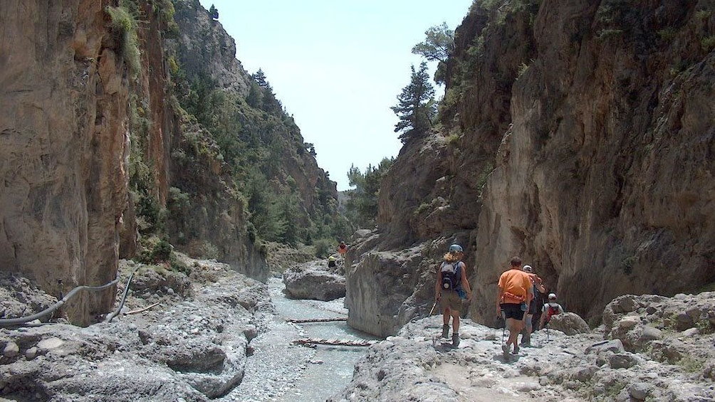 Tourists hiking on the Samariá Gorge Full-Day Excursion