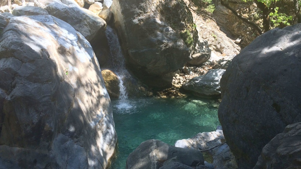 View of small waterfall in Samariá Gorge