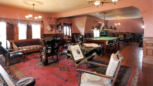 Billiards room inside Craigdarroch Castle in Victoria