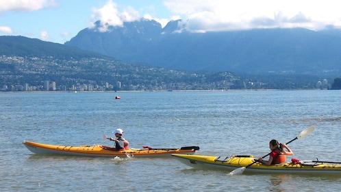 Kayaking in open waters in Vancouver