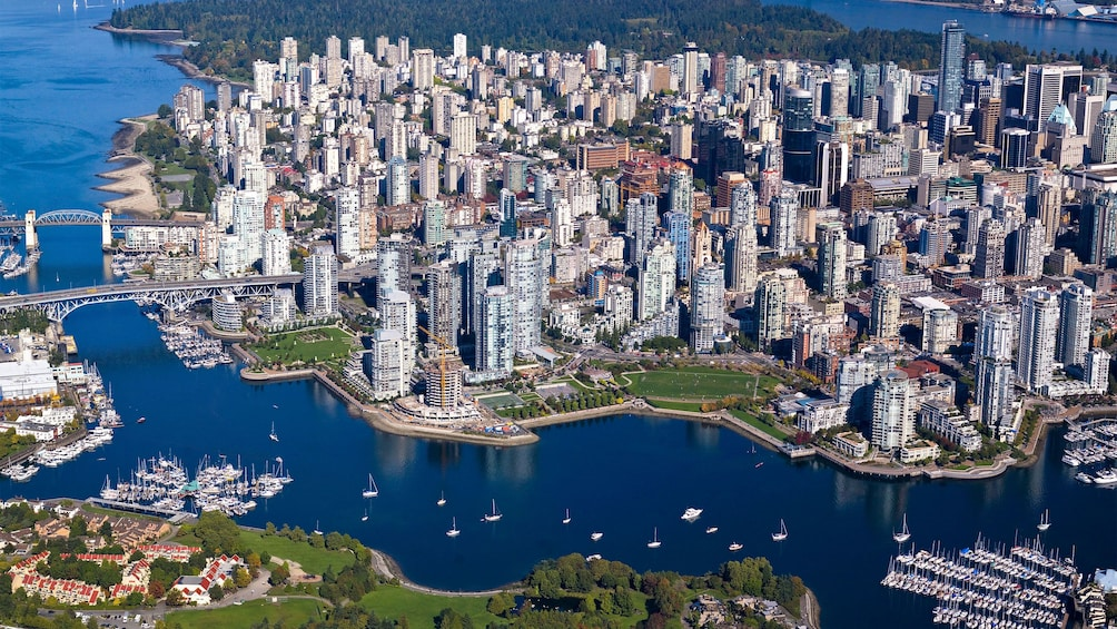 Show item 3 of 6. Clear view of the city and harbor in Vancouver