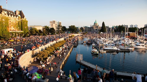 Crowded street festivities near the docks in Vancouver