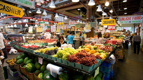 Shopping at an indoor market in Vancouver