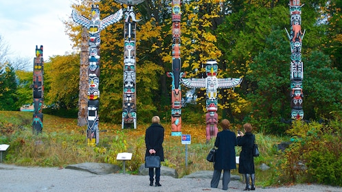 Colorful totem poles in Canada