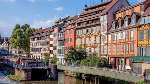 Colorful historic buildings on the water in Strasbourg
