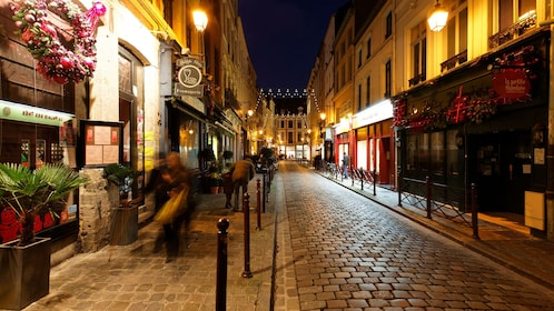 Night view of the streets in Lille