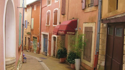 Shops line a narrow street in the town of Roussillon