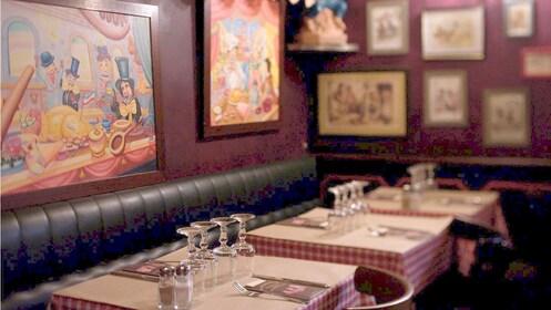 Seating area inside Aux Trois Cochons Restaurant