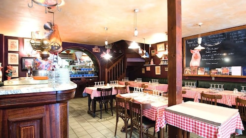 View inside Aux Trois Cochons Restaurant