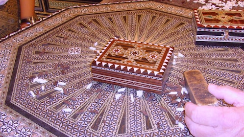 Mosaics and ornate boxes in Granada