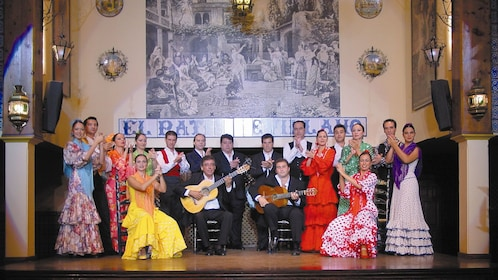 Group photo of the Flamenco Show dancers in Seville