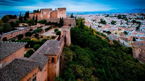 aerial view of city in granada