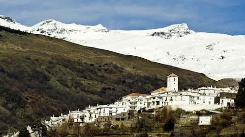 aerial city view with mountains in granada