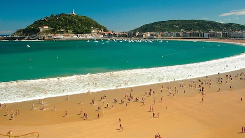 People on a beach in Spain