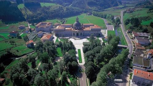 Aerial view of a church in Spain
