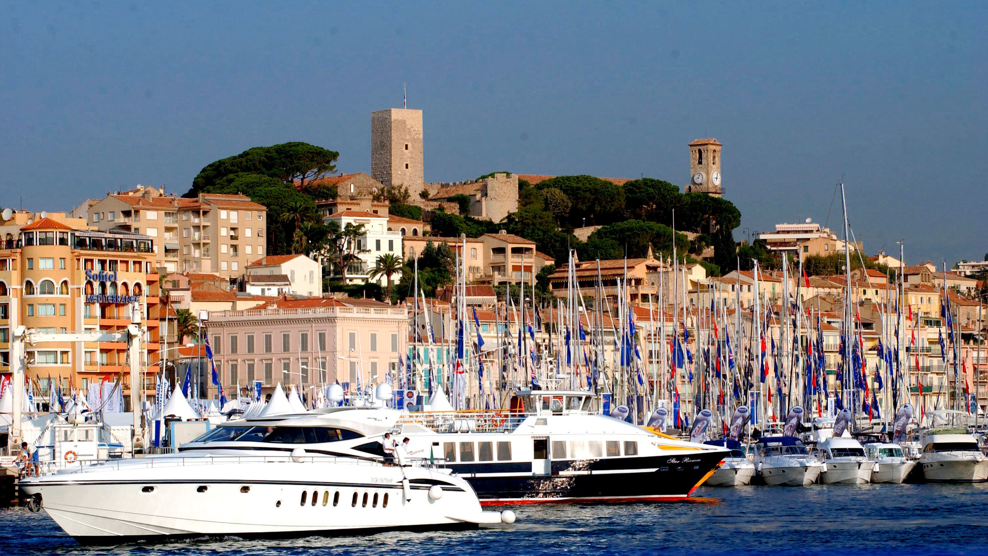 Sailboats on the water in Cannes
