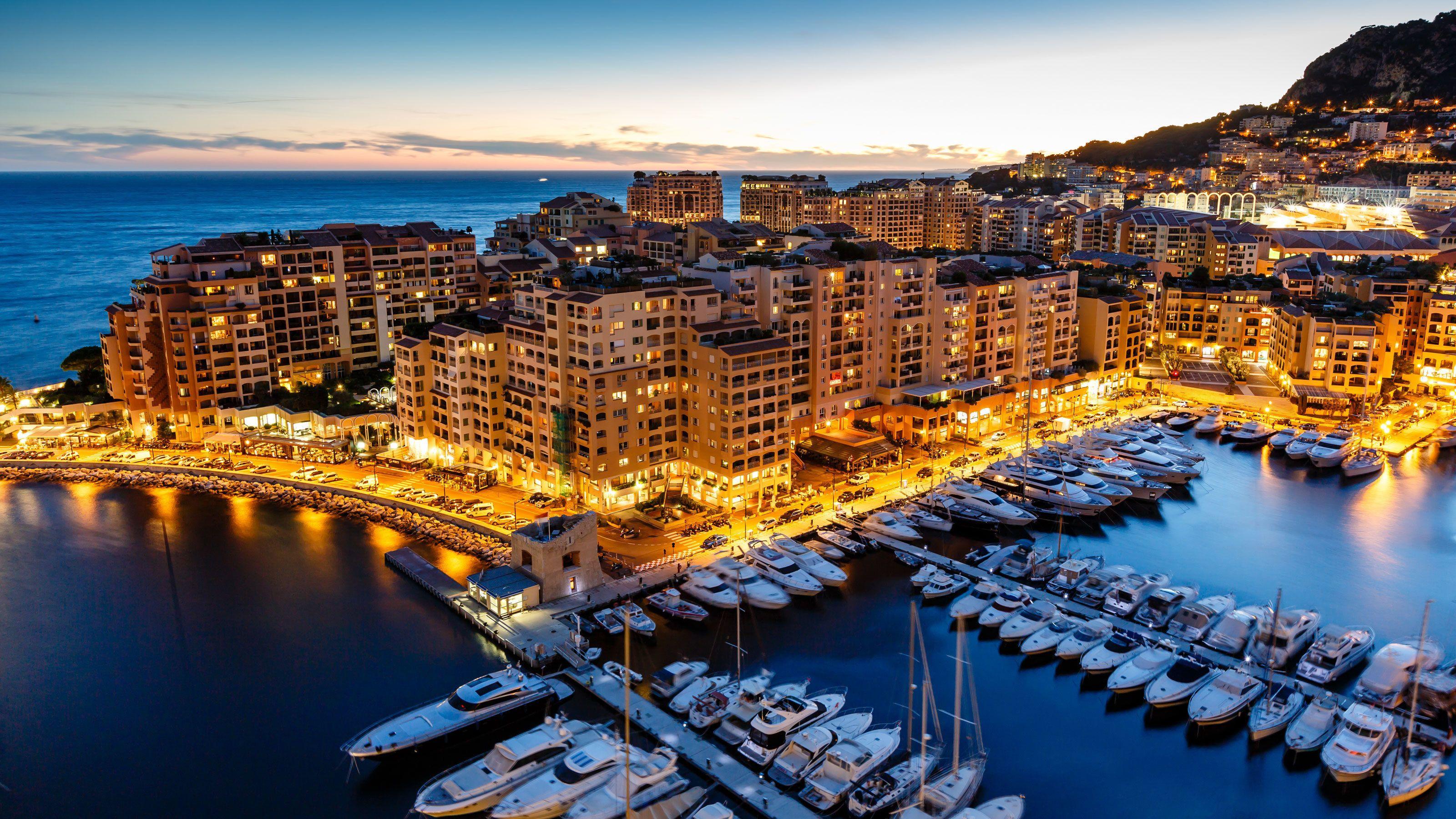 Night dock view of Monaco