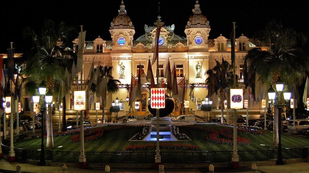 Night view of the Monte Carlo Casino in Monaco