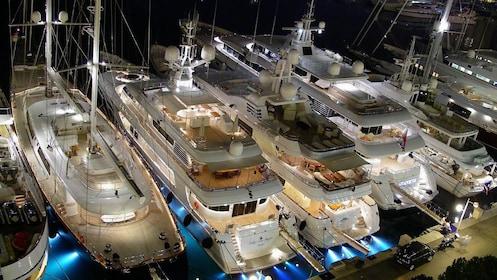 Night view of cruise ships in Monaco