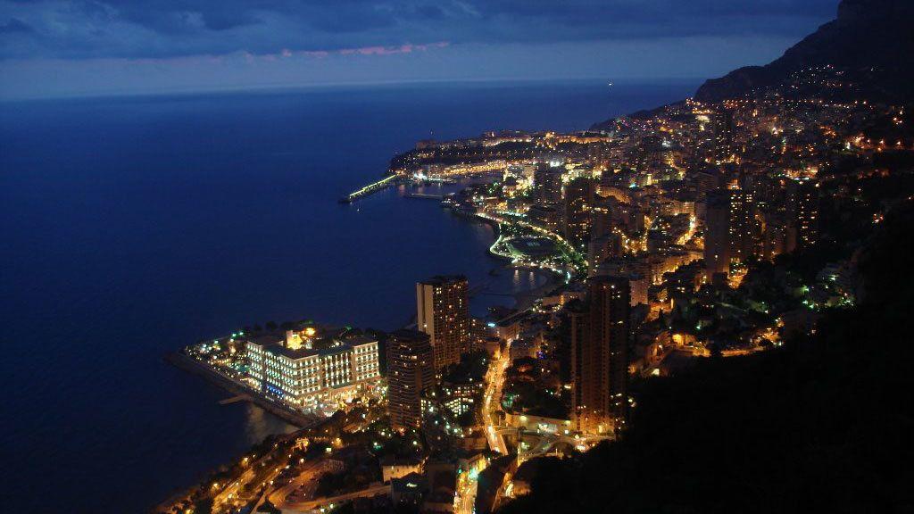 Aerial night view overlooking Monaco