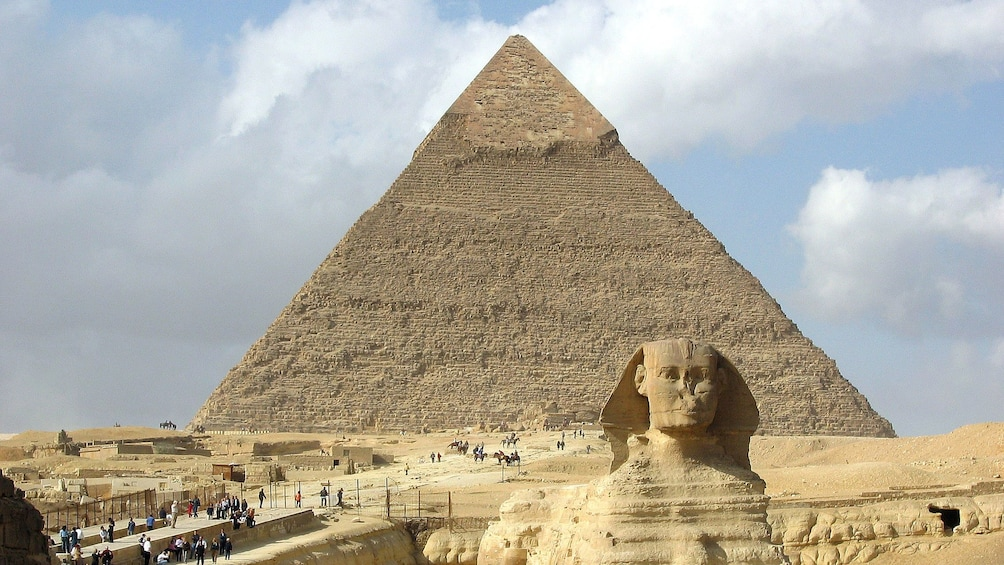 Show item 4 of 9. Sphinx and pyramid in Cairo