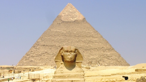 Sphinx and pyramid in Cairo