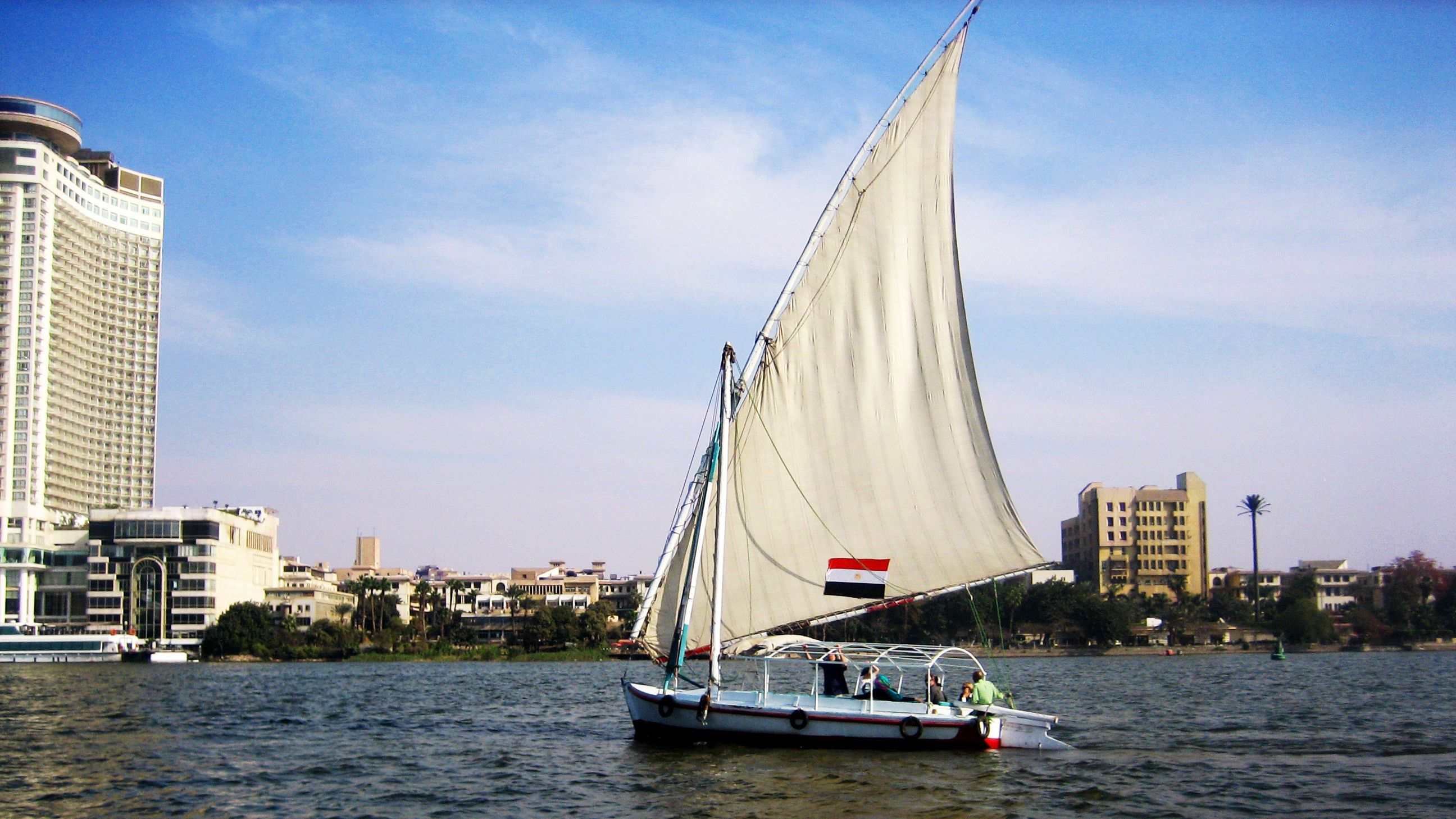 Boat cruising at the River Nile during the day in Cairo