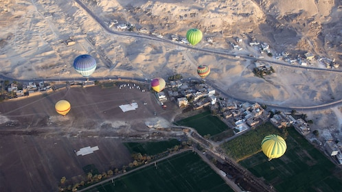 aerial view of hot air balloons in luxor