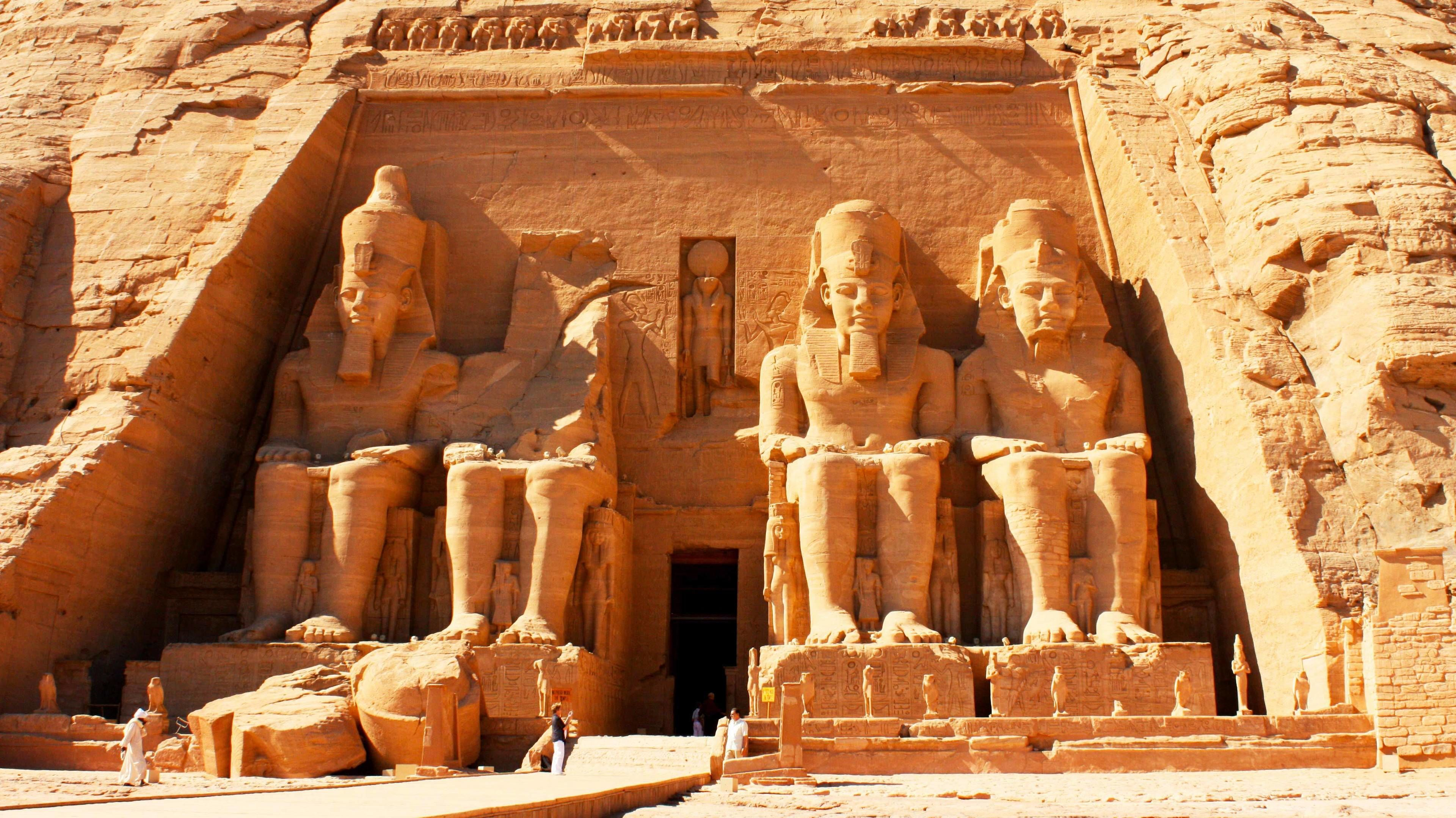Four large sculptures guard the entrance to the Great Temple at Abu Simbel