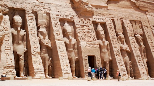 Tour group standing at the entrance of the Small Temple at Abu Simbel