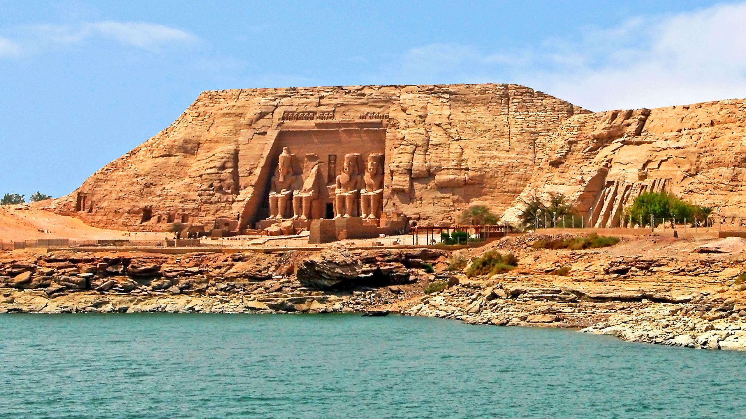 Temple of Abu Simbel along the bank of the Lake Nasser near Aswan
