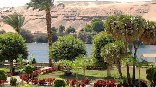 Aswan Botanical Garden with the Nile River in the background