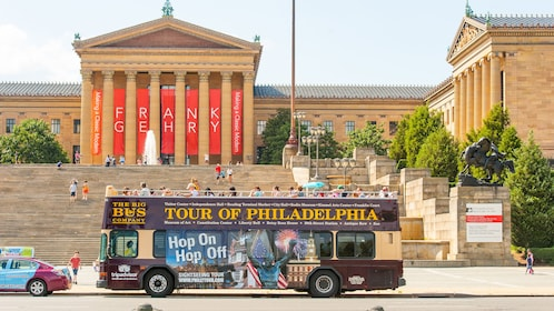 Hop-On Hop-Off bus in front of the Philadelphia Museum of Art