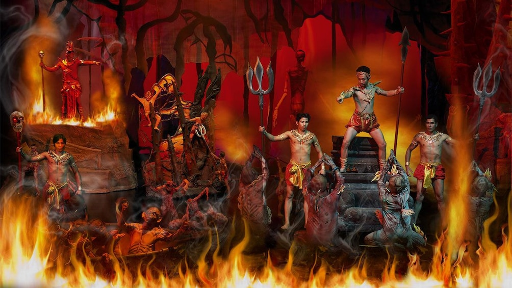 Show item 3 of 8. fiery scene on stage at the Siam Niramit in Thailand