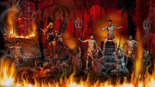fiery scene on stage at the Siam Niramit in Thailand