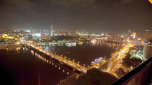 night time city view in egypt