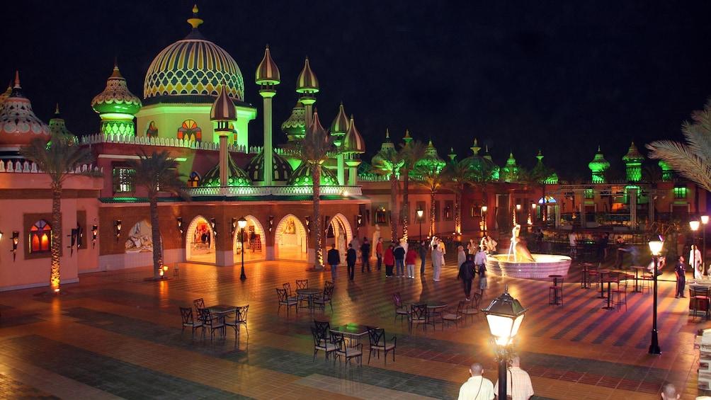 illuminated city night scene in egypt