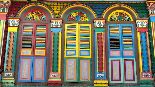 Colorfully painted india style doors in Singapore