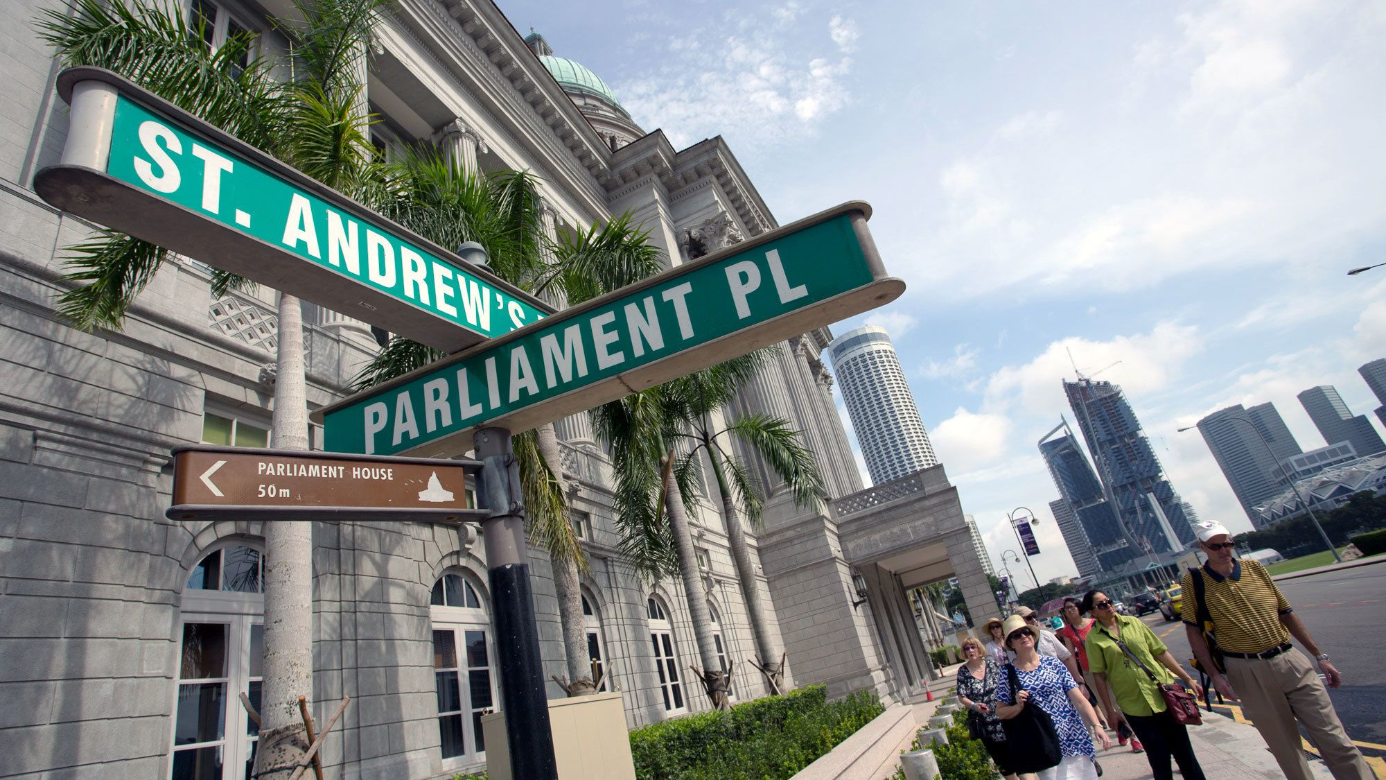 Street signs on the colonial tour in singapore