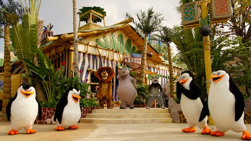 Madagascar mascots at Universal studios in Singapore