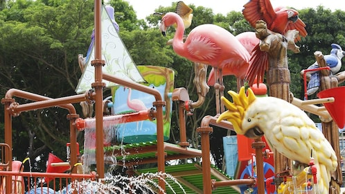 Sculptures of bird of different species at the Jurong bird park in Singapore