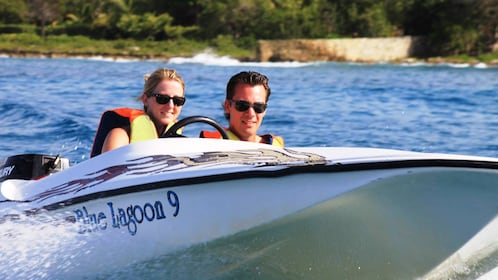 Perfect weather for a speedboat ride in La Romana