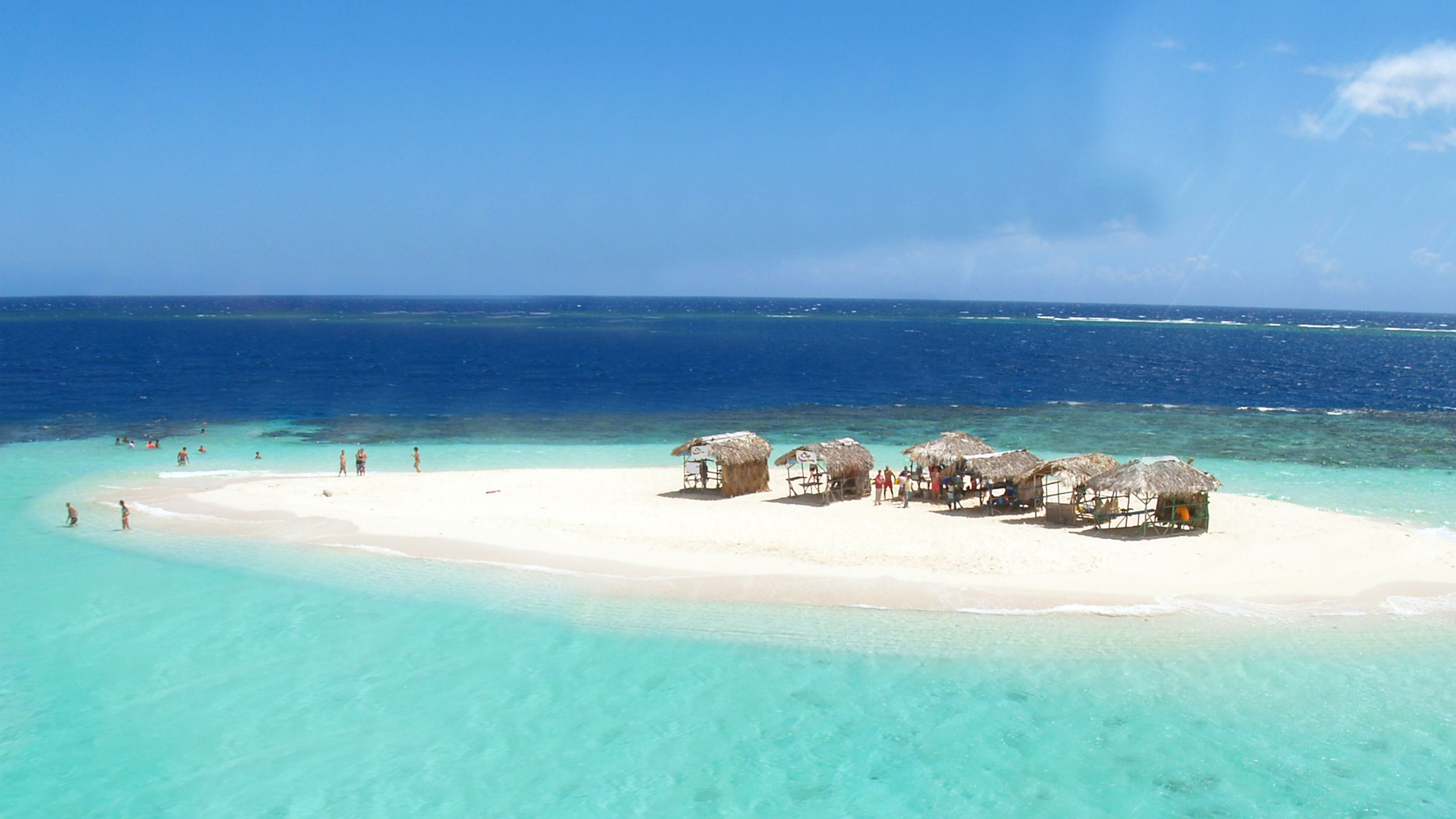 View of Sheltering huts on Paradise Island