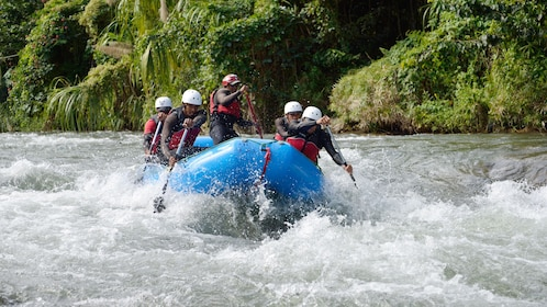 Group of rafters running the rapids of the Yaque del Norte River