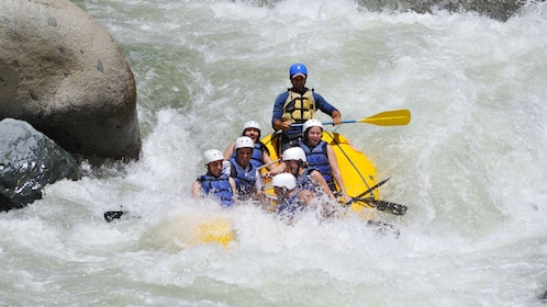 Rafting group on the Class 3 rapids of the Yaque del Norte River