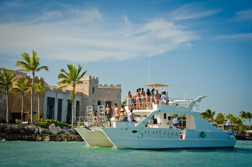 Show item 2 of 9. Juanillo Beach Catamaran Cruise & Cenote Swim