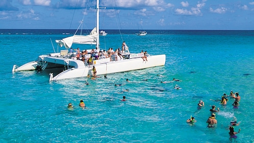Large group of snorkelers in blue water surrounding a catamaran