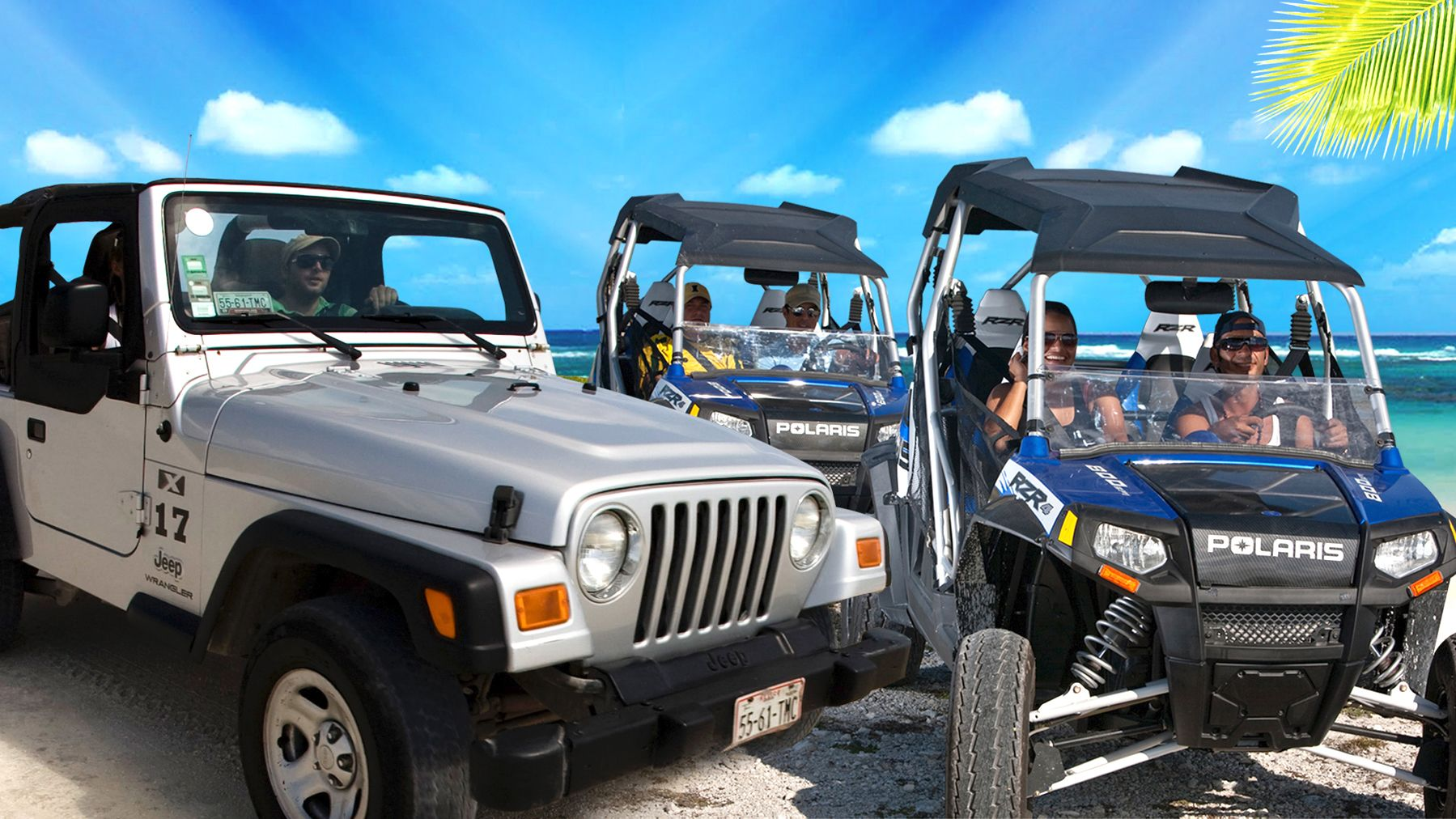 Jeep and dune buggies on the sand in Riviera Maya